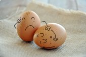 Caricatures of eggs — Stock Photo