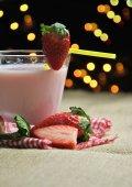 Glass of strawberry milkshake — Stock Photo