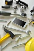 Various types of tools with screws  — Stock Photo