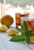 Glasses of ice tea with mint — Stock Photo