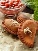 Homemade tuna patty with tomato sauce — Stock Photo