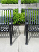 Metal Park Benches in an Urban Area — Stock Photo