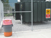 Garbage Can Industrial Fence — Stock Photo