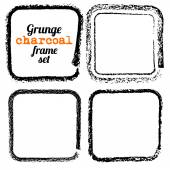 Set of four grunge square charcoal frames vector — Stock Vector