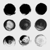 Grunge paint circle vector element set. Brush smear stain textur — Stock Vector
