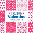 Vector set of seamless pixel art heart patterns for Valentine's — Stock Vector #55837289