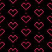 Vector seamless pixel  heart pattern for Valentine's Day — Stok Vektör