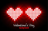 Shining pixel hearts for Valentine's day designs. Online dating, — Vector de stock