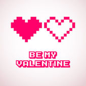 Vector pixel hearts for Valentine's day cards designs — Stock Vector