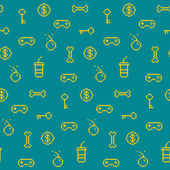 Seamless oldschool gaming inspired pattern, game icons, achievem — Stock Vector