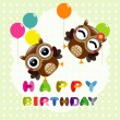 Happy birthday card with cute owls — Stock Vector #55667379