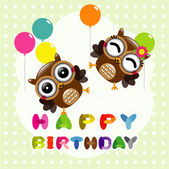 Happy birthday card with cute owls — Stock Vector