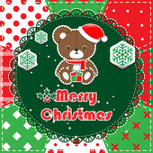 Patchwork christmas background with teddy bear — Stock vektor