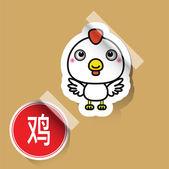 Chinese Zodiac Sign Rooster Sticker — Vetor de Stock