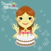 Sweet girl with birthday cake — Stock Vector