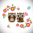 Greeting card with two lovely owls — Stock Vector #64903851