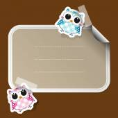Cartoon owls sticker with place for text — Stock Vector