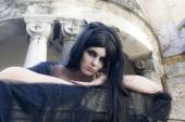 Halloween Mysterious Dressed Gothic Woman — Stock Photo