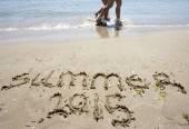 Lato roku 2015 piasek plaża — Zdjęcie stockowe
