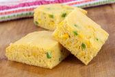 Jalapeno corn bread squares — Stock Photo