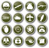 Military army icon set vector — Stock Vector