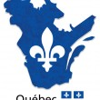 Quebec map with emblem and flag illustration — Stock Vector #64706577