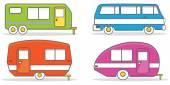 Retro caravan mobile home illustration vector — Stock Vector