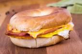 Ham Cheese and Egg Breakfast Bagel Sandwich — Stock Photo