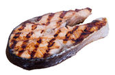 Grilled salmon steak over white background — Stock Photo