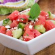 Healthy Fresh Organic Watermelon Salad with Mint, feta cheese and Cucumber closeup — Stock Photo #76714091