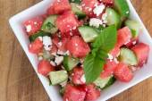 Healthy Fresh Watermelon Salad with Mint and Cucumber — Stock Photo