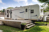 Mobile home on camping — Stock Photo