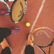 ������, ������: Players Having Fun Playing Tennis On Tennis Court