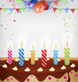 Birthday celebration with cake — Stock Vector
