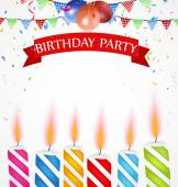 Birthday celebration with balloons and candle — Stock Vector