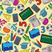 Seamless mönster med skolan doodles — Stockvektor