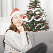 Young girl think about christmas — Stock Photo