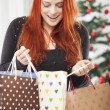 Young happy girl with christmas bags — Stock Photo #55862325