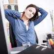 Exhausted Office Woman Holding her Head and Neck — Stock Photo #69107065