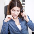 Frantic businesswoman making a phone call — Stock Photo #69107821