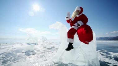 Santa claus on ice horse — Stock Video