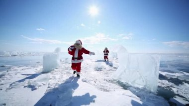 Santa on Lake Baikal — Stock video