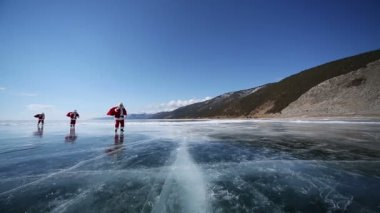Santa on Lake Baikal — Stock Video