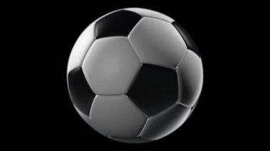 Soccer Ball Rotation on a black background — Stock Video