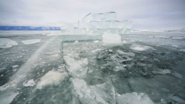 Hole in the ice of Baikal lake — Stock Video