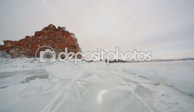 Panorama of the Ice Surface The beauty of the structure of the ice of Lake Baikal — Stock Video