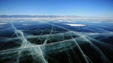 Shopping Cart With Ice Cubes  The trolley rolls on the frozen surface of Lake Baikal — Stock Video