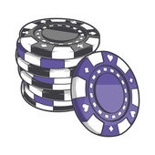 Black and violet stacks of gambling chips, casino tokens isolated on a white background. Color line art. Retro design. Vector illustration. — Stock Vector