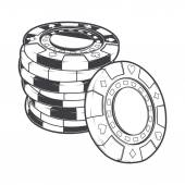 Stacks of gambling chips, casino tokens isolated on a white background. Line art. Retro design. Vector illustration. — Stock Vector