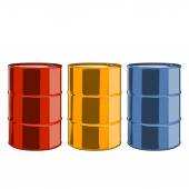 Red, yellow and blue steel oil barrels isolated on a white background. Color line art. Retro design. Vector illustration. — Stock Vector